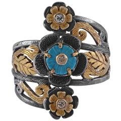 Emma Chapman Turquoise Diamond 18 Karat Gold Silver Cocktail Ring