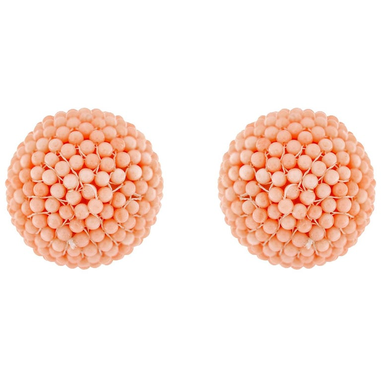 Valentin Magro Pink Coral Beaded Ball Clip Back Earrings in Yellow Gold For Sale