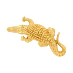 Antique Gold-Plated Bronze Stalking Alligators Belt Buckle John Landrum Bryant