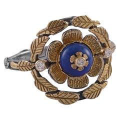Emma Chapman Lapis Lazuli Diamond 18 Karat Gold Cocktail Ring