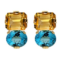 Valentin Magro Citrine and Blue Topaz Gold Clip Earrings
