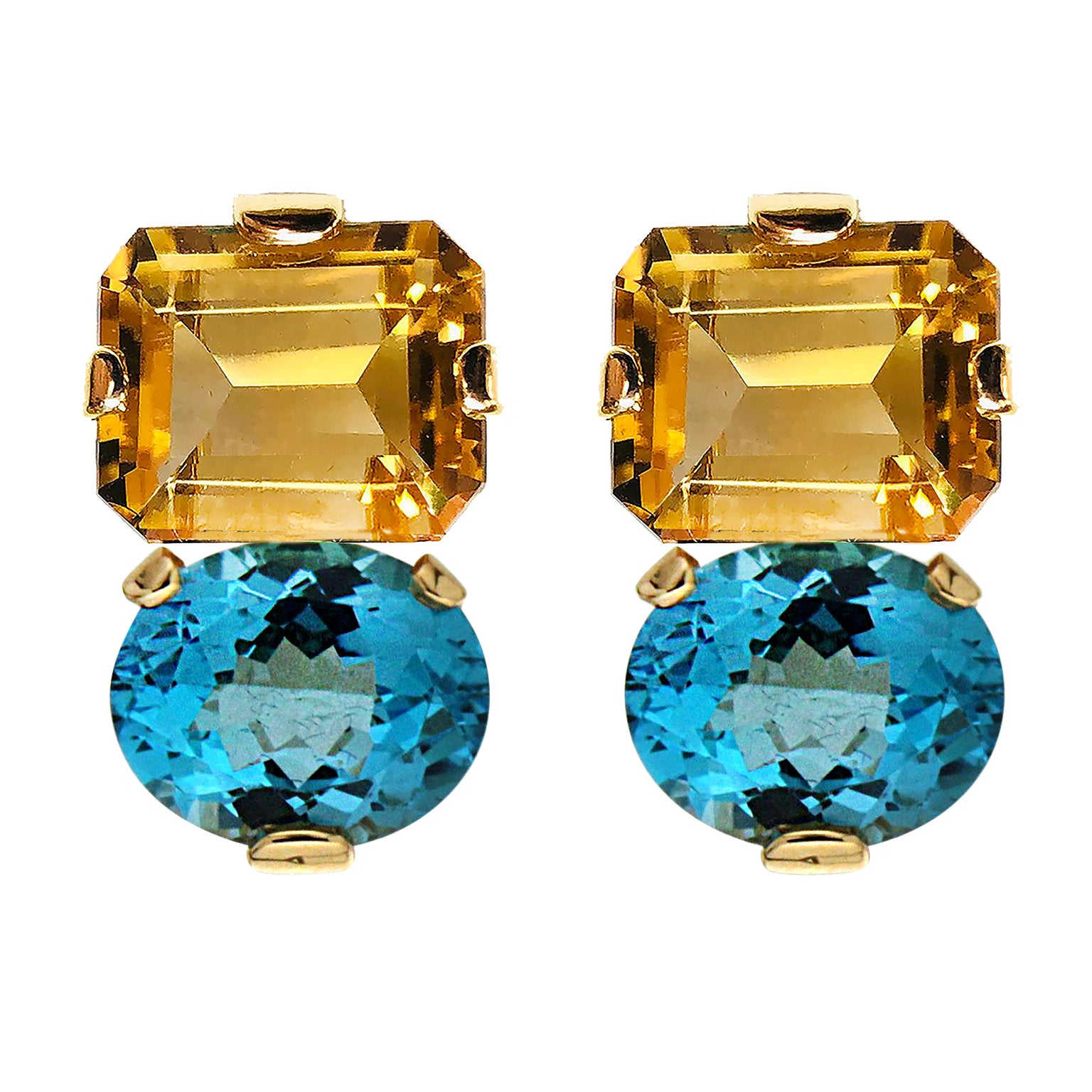 04cdb346b88 Valentin Magro Citrine and Blue Topaz Gold Clip Earrings