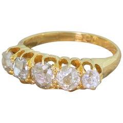 Edwardian 1.70 Carat Old Cut Diamond Five-Stone Ring