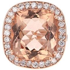 16.21 Carat Morganite Diamond 14 Karat Rose Gold Cocktail Ring