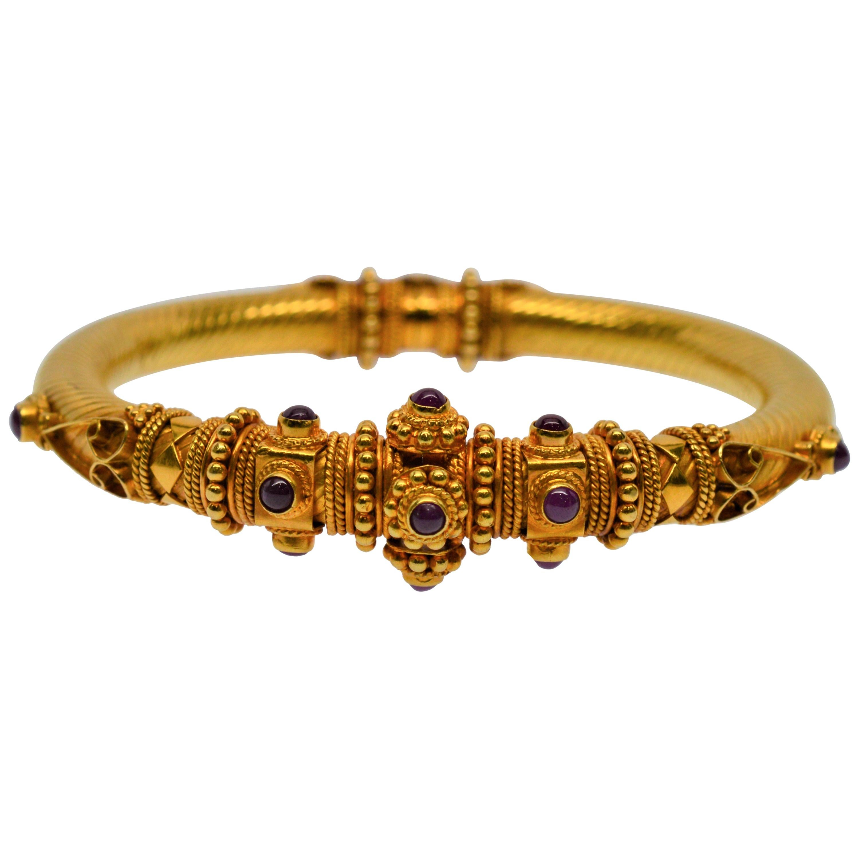 22 Karat Yellow Gold Ruby Cabochon Bangle Bracelet