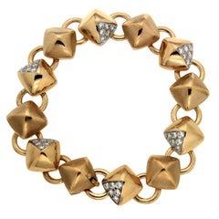 Valentin Magro Diamond Gold Cushion Pyramid Link Bracelet