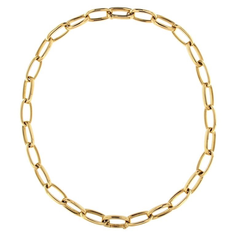 Jona 18 Karat Yellow Gold Link Chain Necklace For Sale