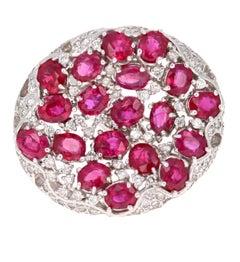 8.70 Carat Ruby and Diamond 14 Karat White Gold Cocktail Ring