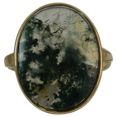 Victorian Large Moss Agate Panel 9 Carat Gold Solitaire Ring