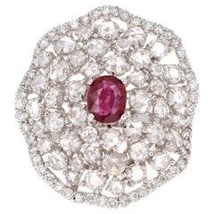 3.61 Carat Ruby Rose Cut Diamond 14 Karat White Gold Cocktail Ring
