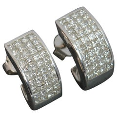 18 Carat White Gold and 1.60 Carat Diamond Hoop Cluster Earrings