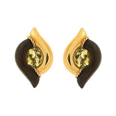 Valentin Magro Modern Double Point Wood and Gold Earrings with Oval Lemon Quartz