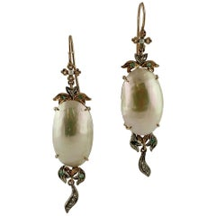 Mabe Pearls, Diamonds, Emeralds, 9 Karat Rose Gold and Silver Dangle Earrings