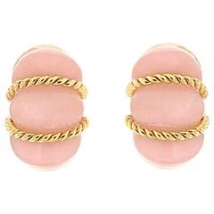 Valentin Magro Rose Quartz Shrimp Gold Earrings