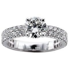 1.14 Carat G VVS2 Round Brilliant Cut Diamond Solitaire Engagement Ring