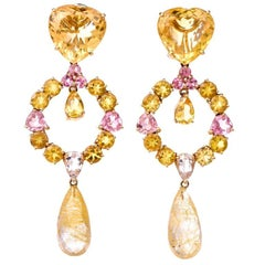 Heart Citrine Pink Quartz Dangle Drop Chandelier 18 Karat Gold Earrings