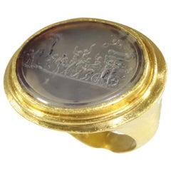 """Gold 18th Century Erotic Intaglio Ring """"The Triumph of Priapus"""""""