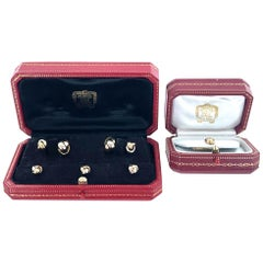 Cartier Knot Cufflink Stud Set 18 Karat Tri-Color Gold Box and Papers