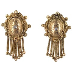 1950s Vintage Diamond Tassel 14 Karat Gold Earrings