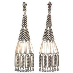 David Yurman Special Edition Diamond Sterling Silver Chandelier Dangle Earrings