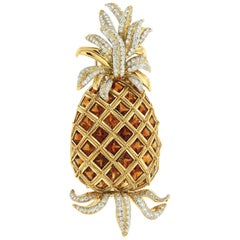 Madeira Citrine and Diamond Gold Pineapple Brooch