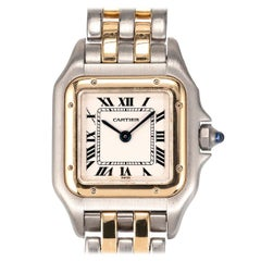 Cartier Panthere Ladies 18 Karat Gold Steel Wristwatch