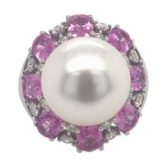 South Sea Pearl with Pink Sapphire Ring 4.50 Carat 18 Karat
