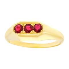 Art Deco Ruby Set Gold Ring
