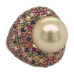 Multiple Color Sapphire Diamond Pearl Ring 4.26 Carat 18 Karat