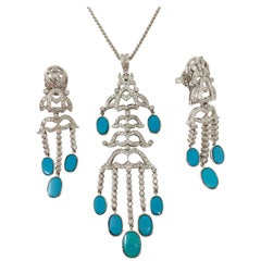 Round Brilliant Diamond and Turquoise Three-Piece Pendant Set in 18 Karat Gold