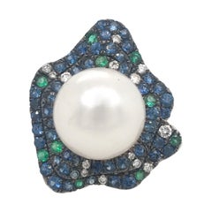 South Sea Pearl Emerald and Diamond Ring 2.31 Carat 18 Karat