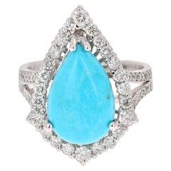 5.54 Carat Turquoise Diamond 14 Karat White Gold Cocktail Ring