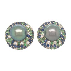 Tahitian Pearl Sapphire and Diamond Earrings 3.87 Carats 18 Karat