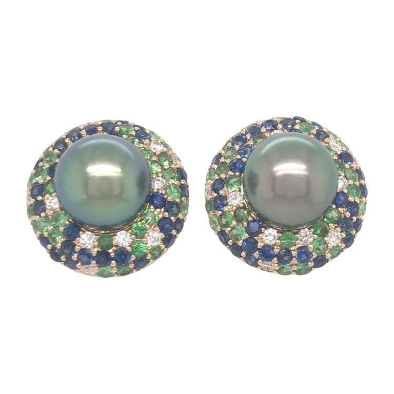 Tahitian Pearl Sapphire and Diamond Earrings 3.87 Carats 18 Karat For Sale