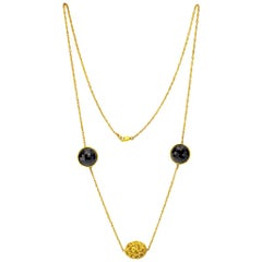 Onyx Gold Textured Necklace Link Choker One of a Kind