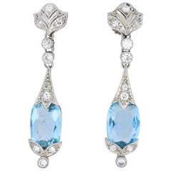 Edwardian 6.00 Carat Aquamarine Diamond Platinum Screw Back Drop Earrings