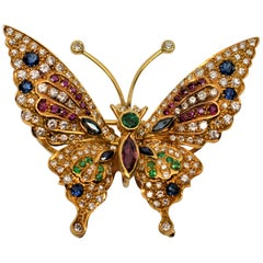 Diamond Sapphire Ruby Emerald Yellow Gold Fluttering Butterfly Brooch Pendant