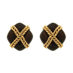 Valentin Magro Criss Cross Twisted Gold Wire Wood Earrings