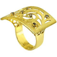 Diamond Gold Ornament Contrast Texture Ring One of a Kind