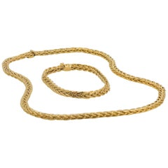 14 Karat Yellow Gold Wheat Chain Necklace and Bracelet Set