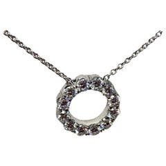 White Gold 1.00 Carat Total Weight Diamond Circular Pendant Necklace