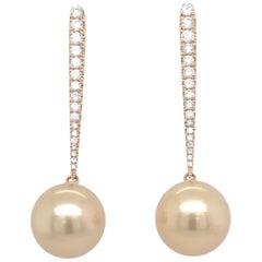 Golden South Sea Diamond Drop Earrings 0.43 Carat
