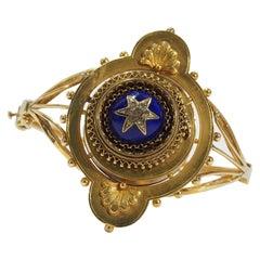 18 Karat Vintage Diamond Watch Bangle Yellow Gold Blue Enamel