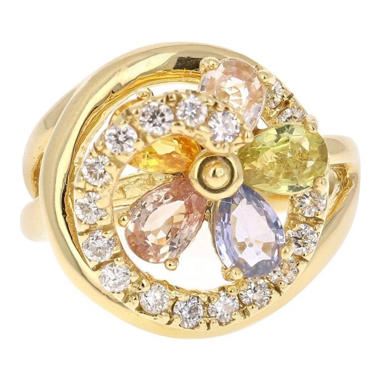 3.13 Carat Sapphire Diamond 18 Karat Yellow Gold Ring For Sale