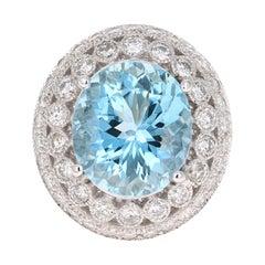 10.97 Carat Aquamarine Diamond 14 Karat White Gold Cocktail Ring