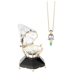 Michael Christie and Susan Allen Black Pearl Emerald Yellow Gold Pendant