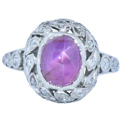Edwardian 3.85 Carat Pink Star Sapphire Diamond Platinum Ring