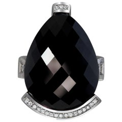 Onyx Diamond White Gold Textured Swan Cocktail Ring