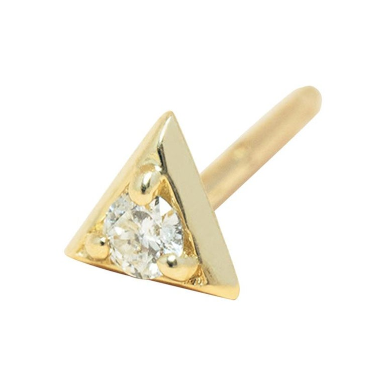 Diamond 14 Karat Gold Formation Triangle Mini Stud For Sale