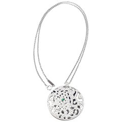 Cartier Panther Diamond Emerald White Gold Pendant Necklace